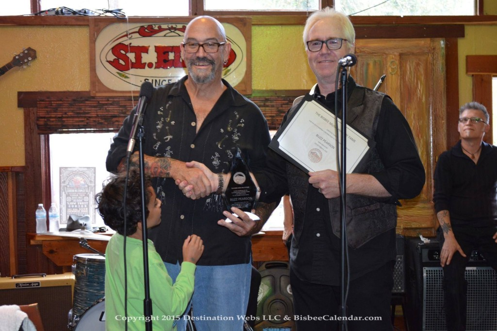 Buzz Pearson officially inducted into the Bisbee Music Hall of Fame.